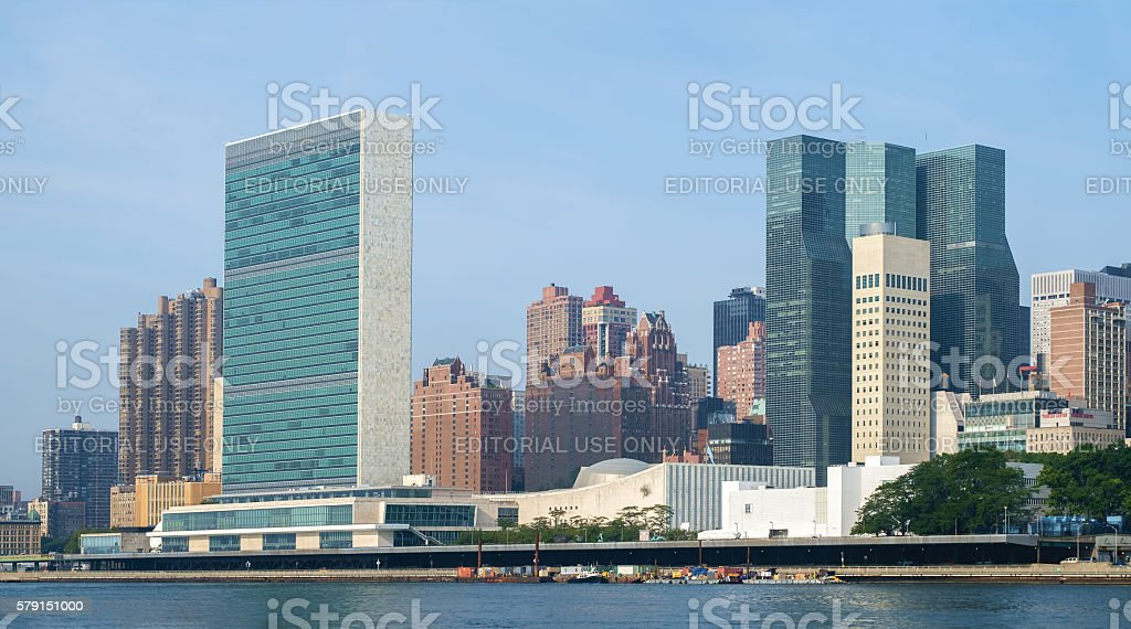 United Nations headquarters complex and US permanent mission stock photo
