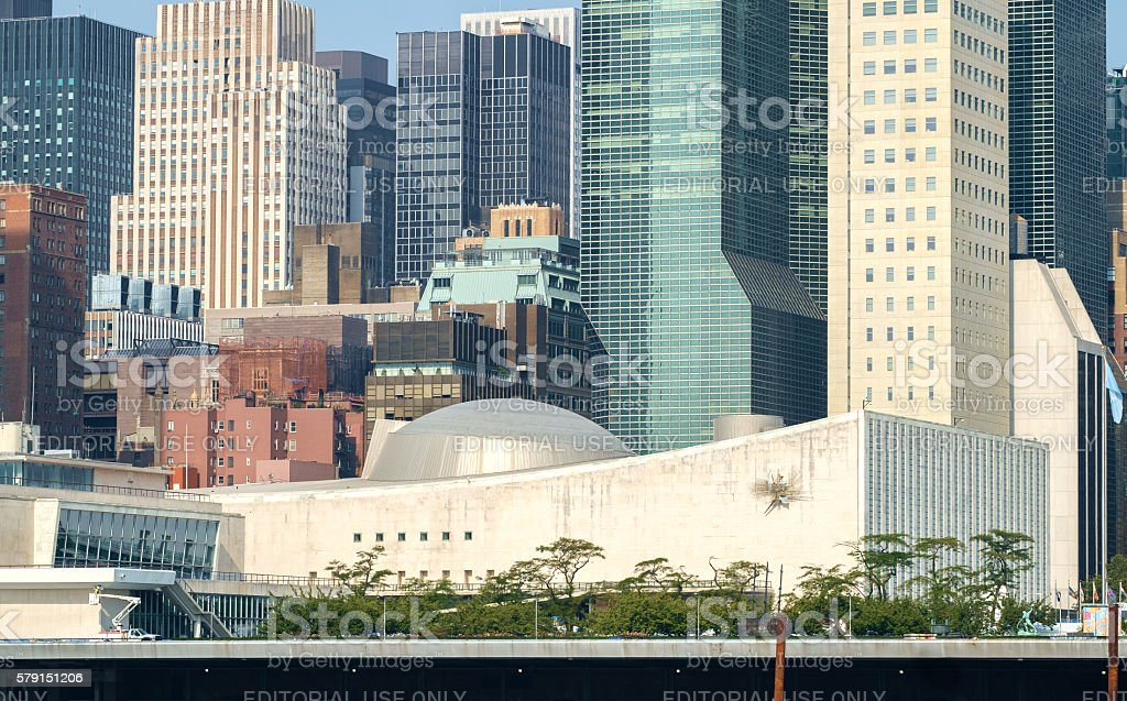 UN United Nations headquarters general assembly stock photo