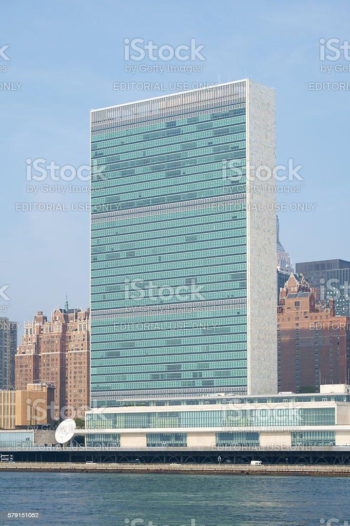 UN United Nations headquarters skyscraper stock photo