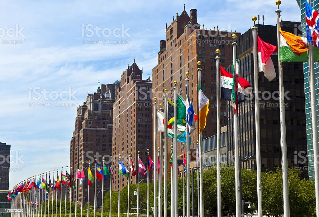 United Nations Headquarters with flags stock photo