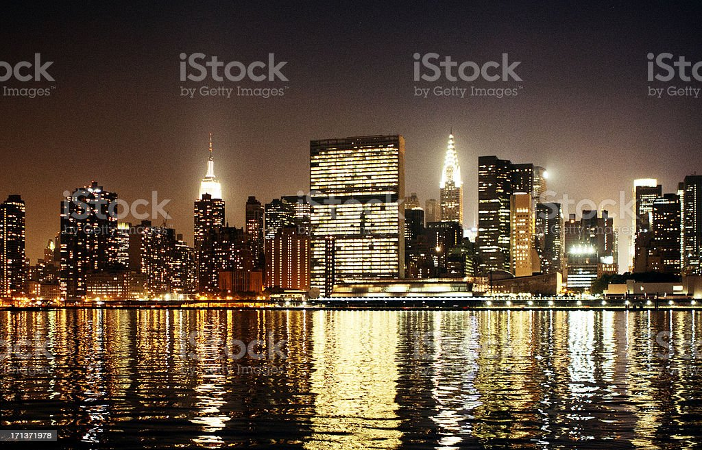 United Nations Secretariat at Night stock photo