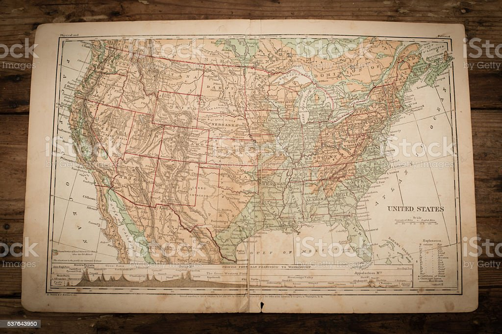 United State of America Map Illustration, Antique 1871 Book Page stock photo