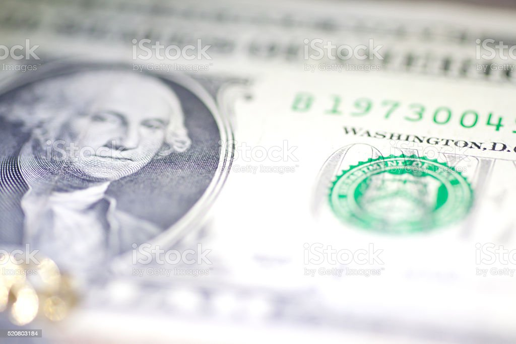 United State of America One Dollar Banknotes stock photo