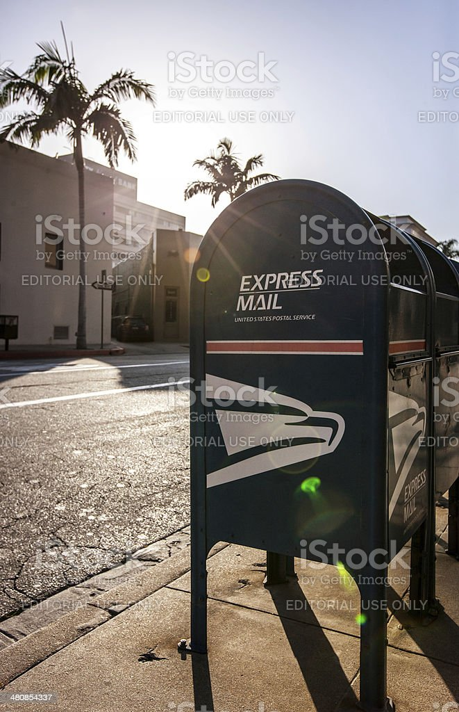 United State Postal Service Box on the street stock photo