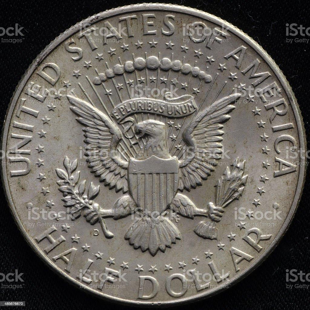 United States 1964 Silver Half Dollar Black Background stock photo