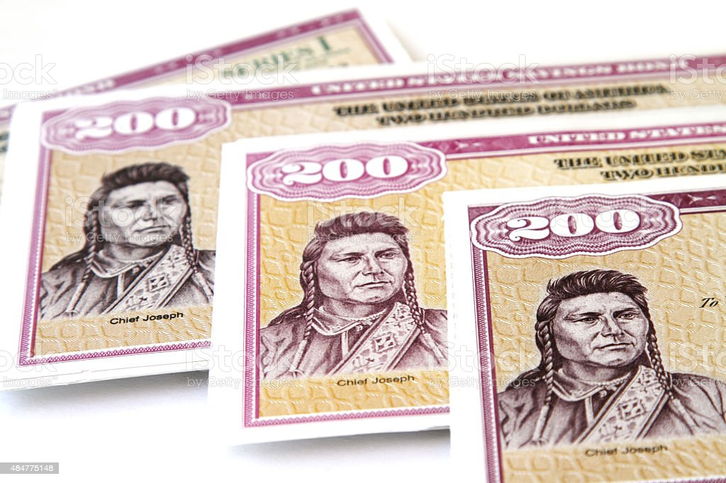 United States $200 Series I Savings Bonds stock photo