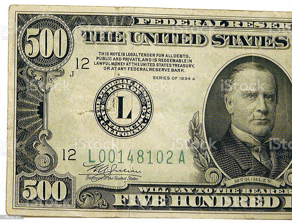 United States 500 dollar bill stock photo
