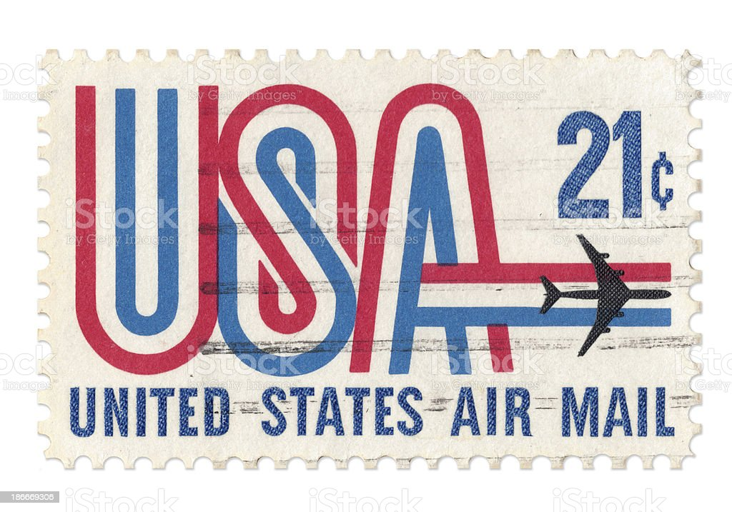 United States Air Mail postage stamp with clipping path stock photo