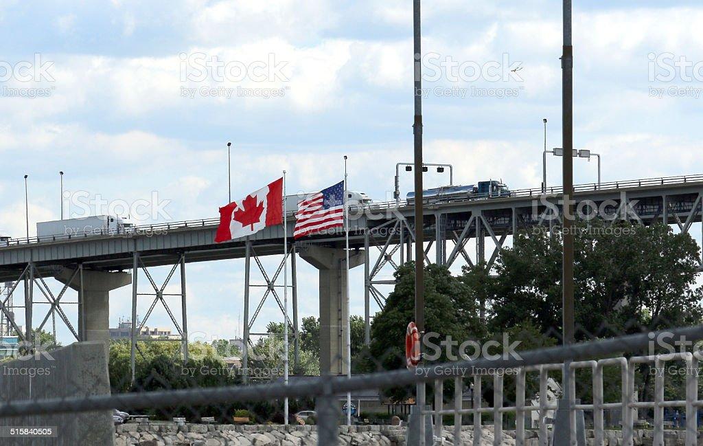 United States and Canada Border stock photo