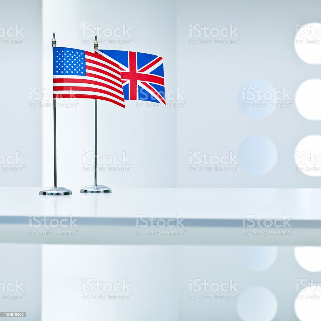 United States and Great Britain flags royalty-free stock photo