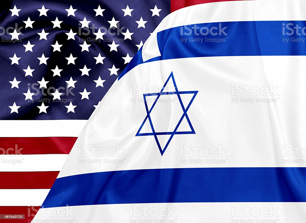 United states and Israel flags stock photo