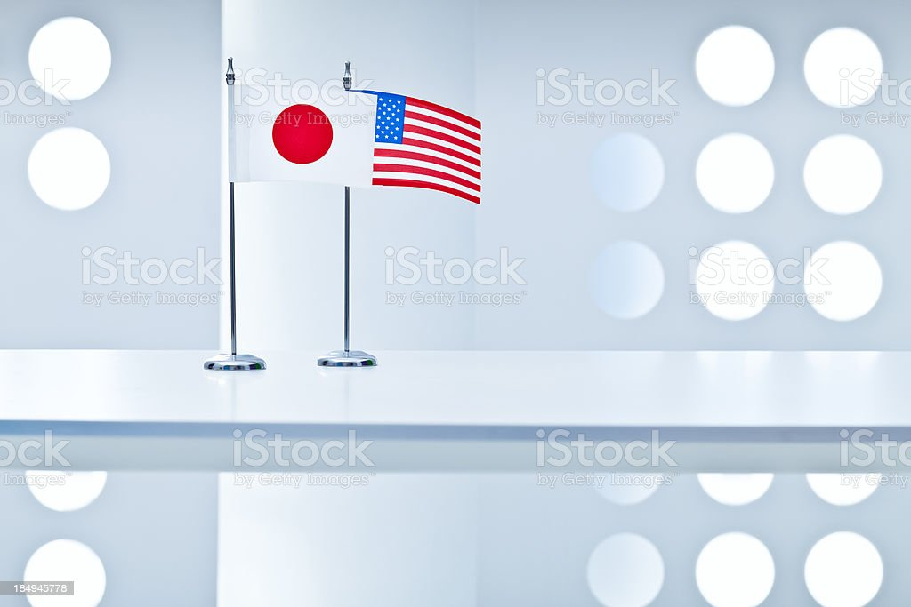 United States and Japan flags royalty-free stock photo