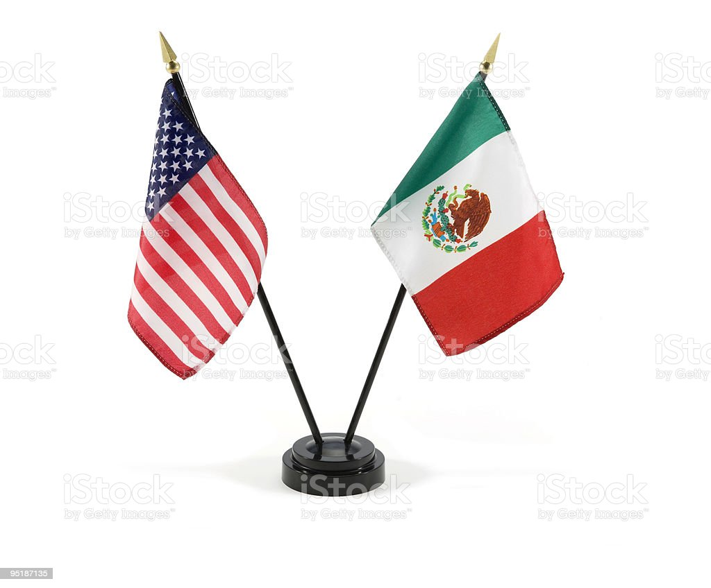 United States and Mexico flags isolated stock photo