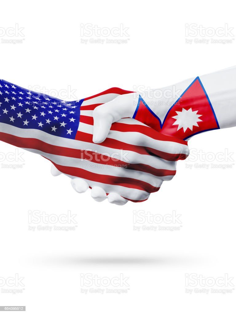 United States and Nepal flags concept cooperation, business, sports competition stock photo