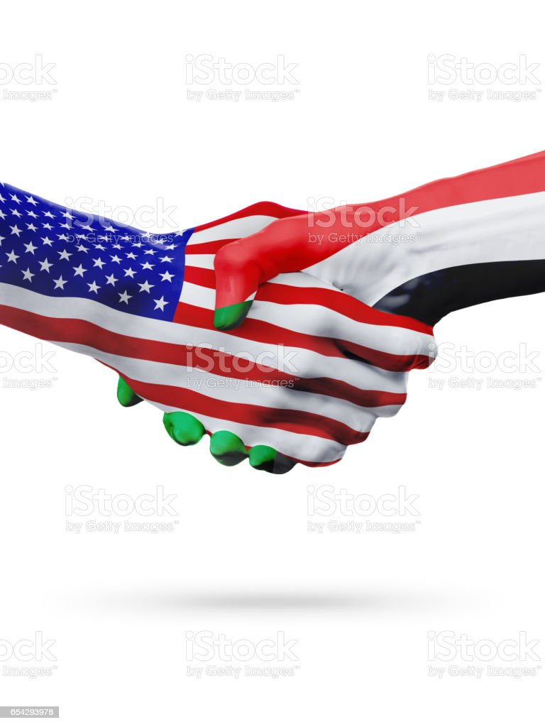 United States and Sudan flags concept cooperation, business, sports competition stock photo