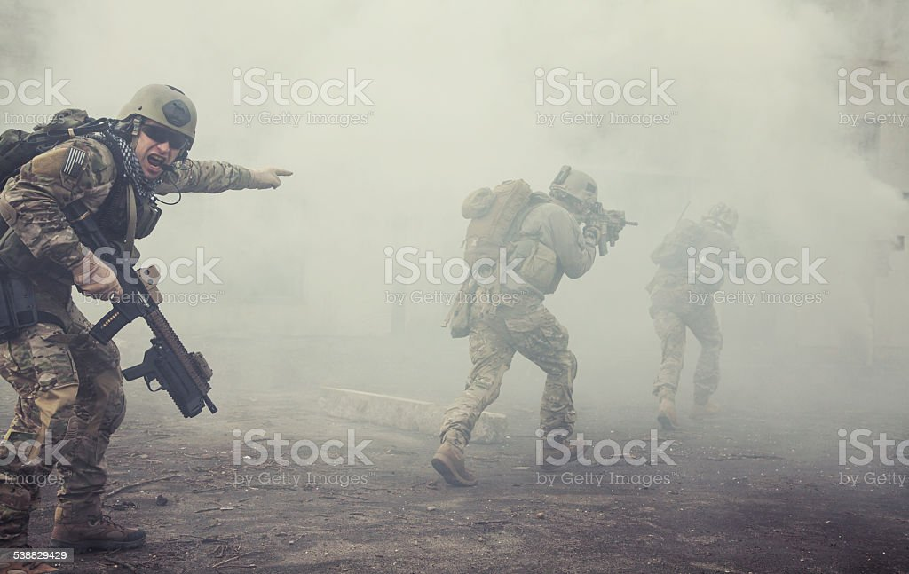 United States Army rangers in action stock photo