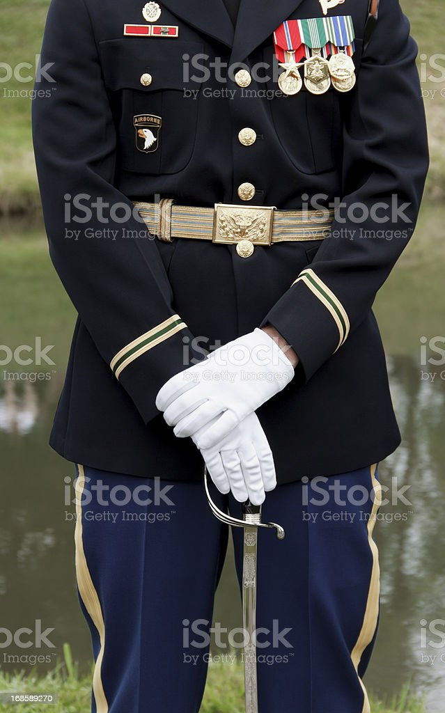 United States Army Soldier Standing at Attention royalty-free stock photo