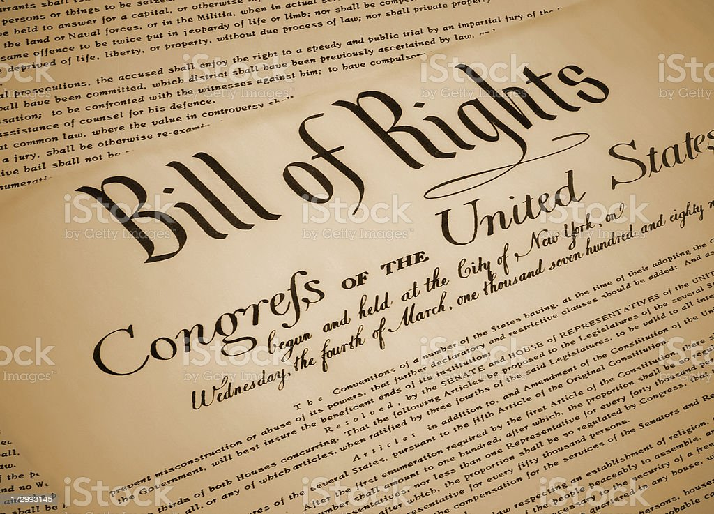 US Bill of Rights stock photo