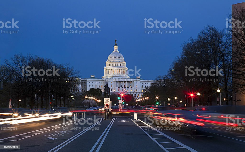 United States Capitol at night royalty-free stock photo