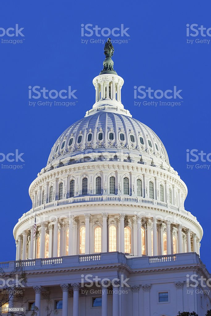United States Capitol at night stock photo