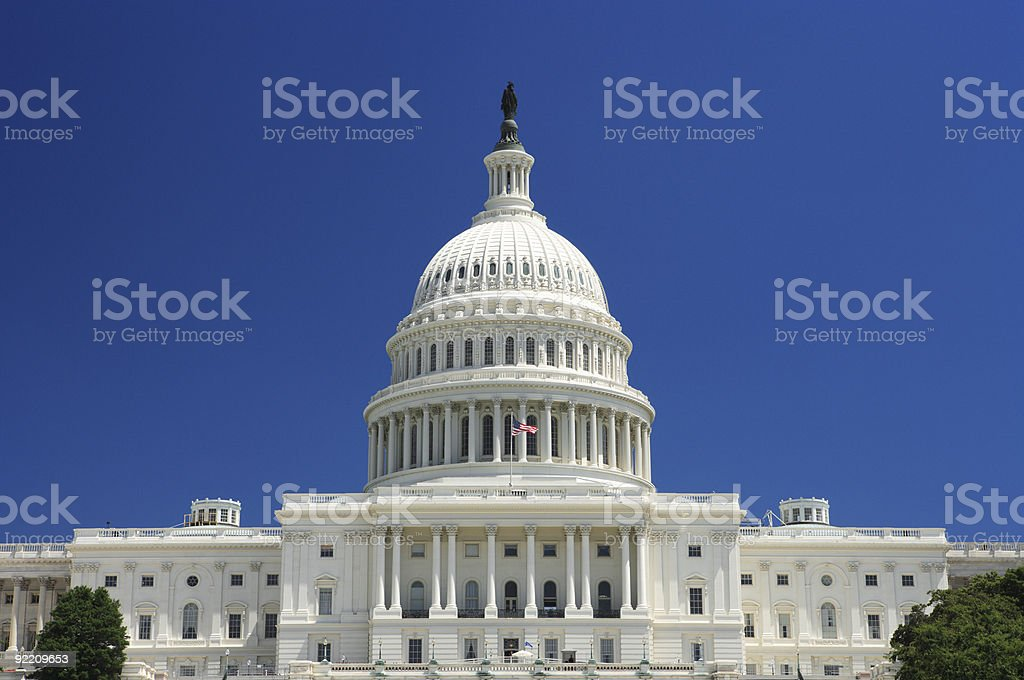 United States Capitol Building before a clear blue sky royalty-free stock photo