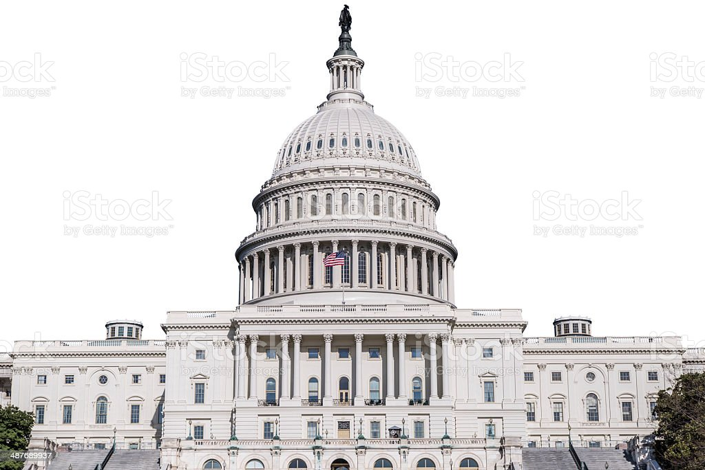 United States Capitol Building Isolated On White stock photo