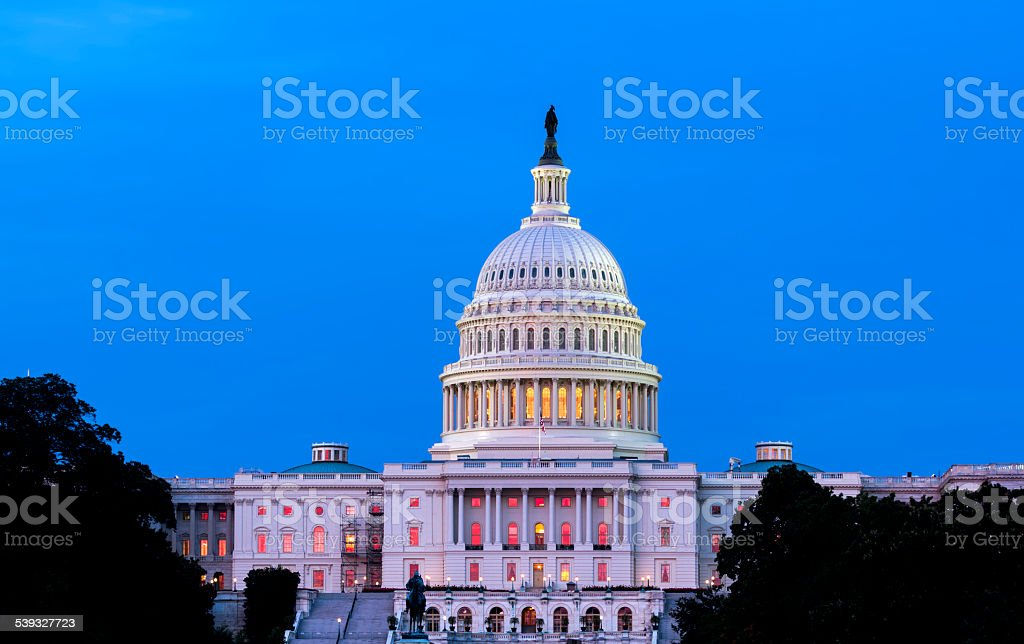 United States Capitol Building Night View stock photo