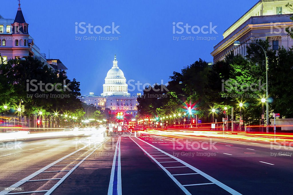 United States Capitol Building Night View with Car Lights Trails stock photo