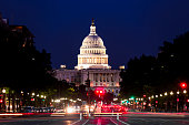 United States Capitol Building Night View with Car Lights Trails