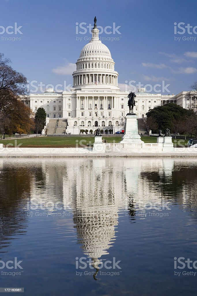 United States Capitol Building with Reflection stock photo