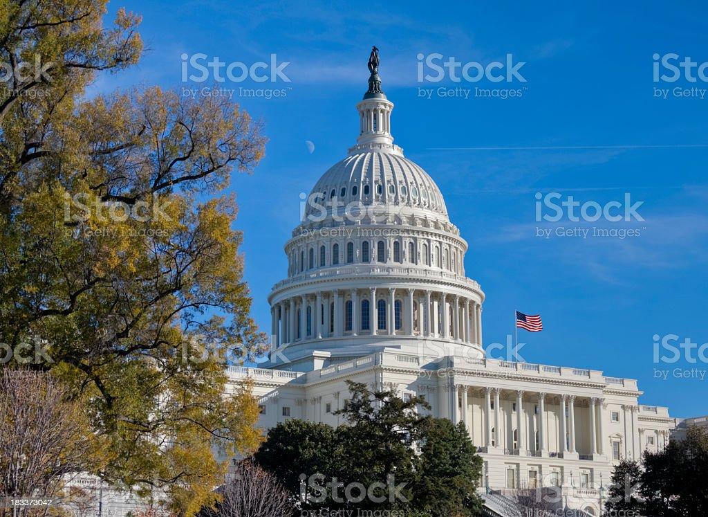 United States Capitol Dome in Autum Under Blue Sky royalty-free stock photo