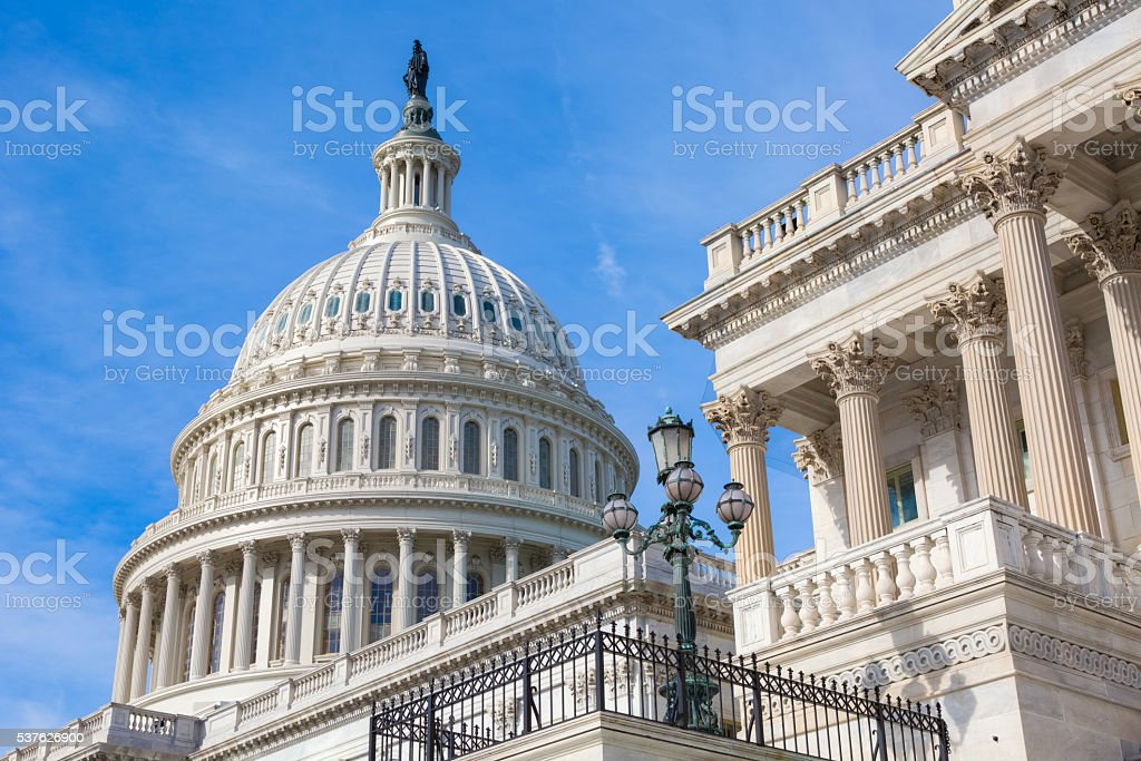 United States Capitol Dome Under Blue Sky stock photo