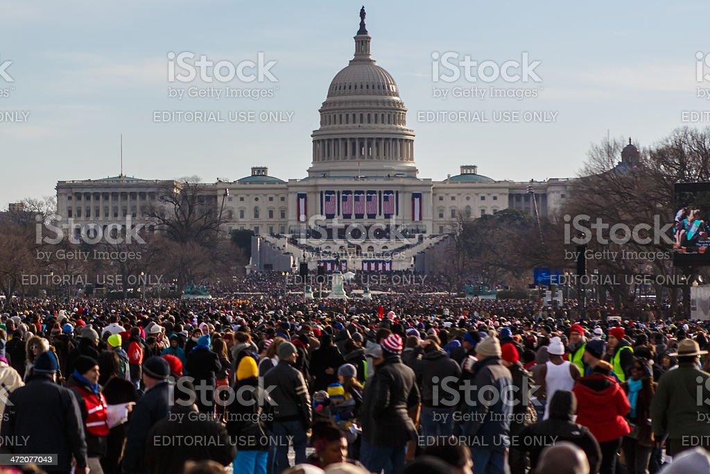 United States Capitol during Barack Obama's presidential inauguration stock photo