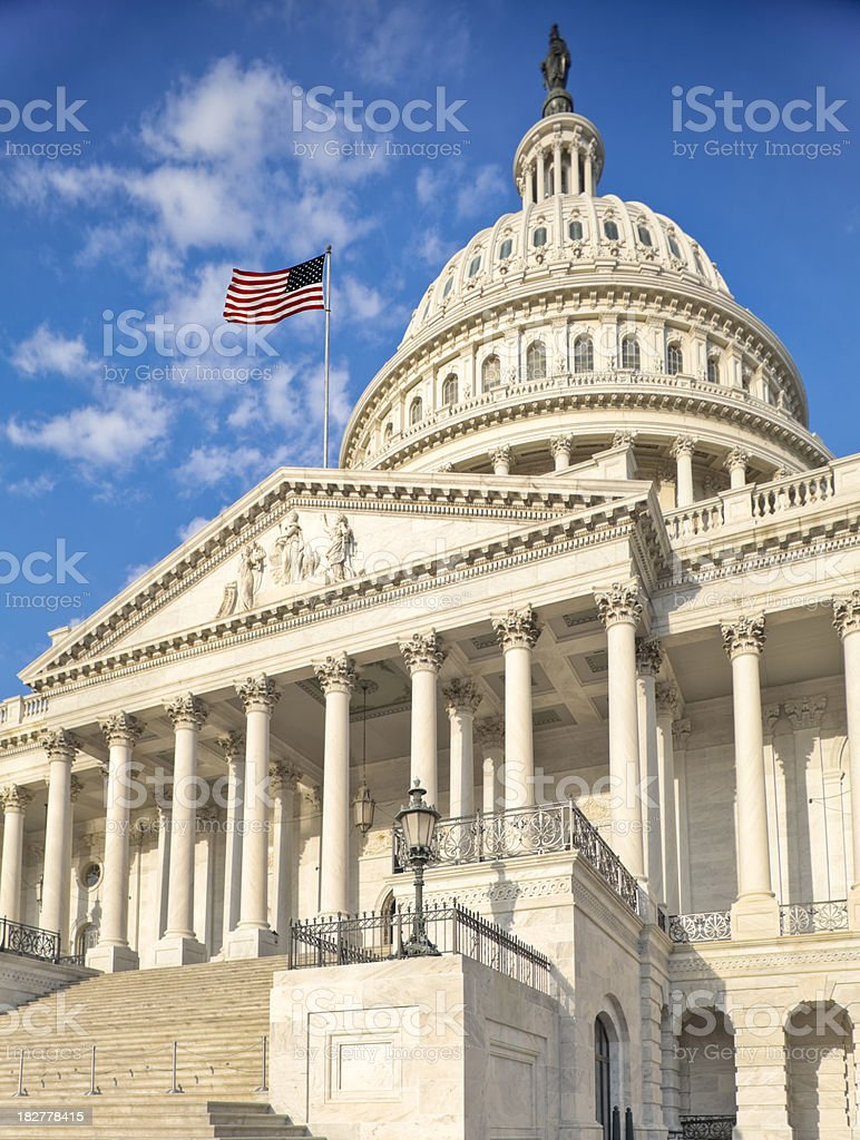 United States Capitol Glowing from Early Morning Sunshine royalty-free stock photo