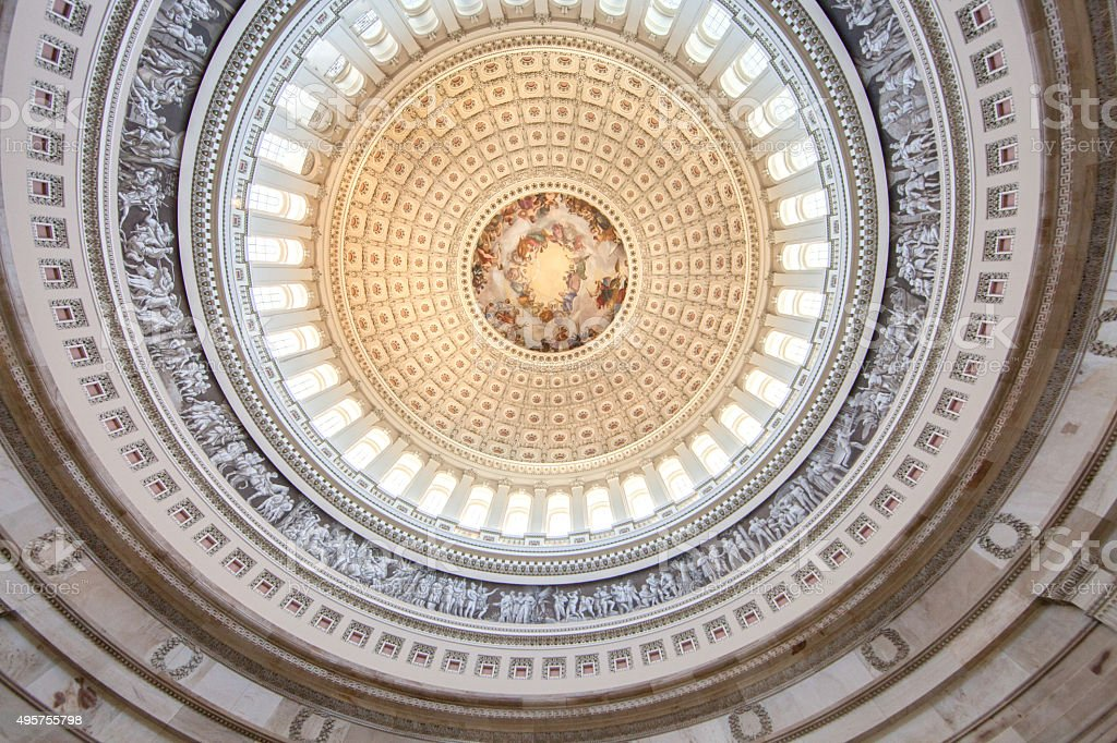 United States Capitol Interior Rotunda ceiling stock photo