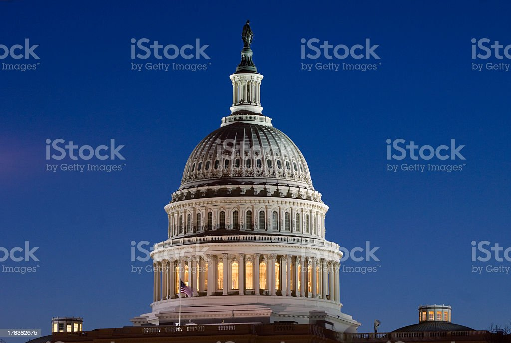 United States Capitol Rotunda at Dawn with Blue Sky stock photo