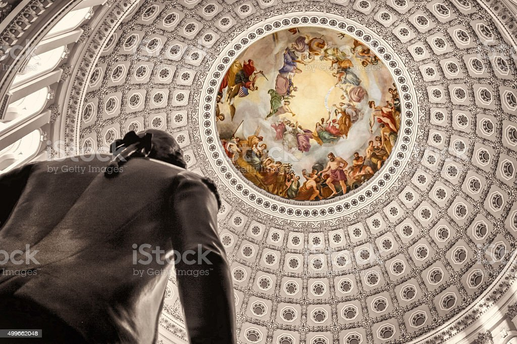 United States Capitol Rotunda George Washington statue stock photo