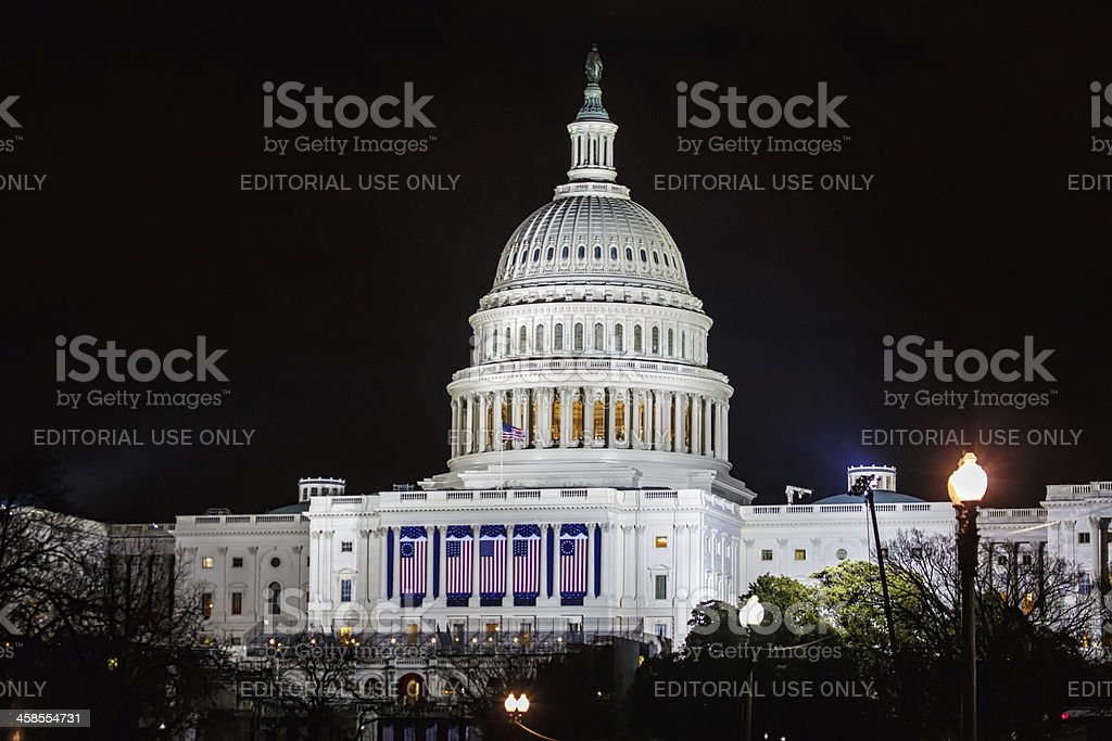 United States Capitol the night of Barack Obama's presidential i stock photo