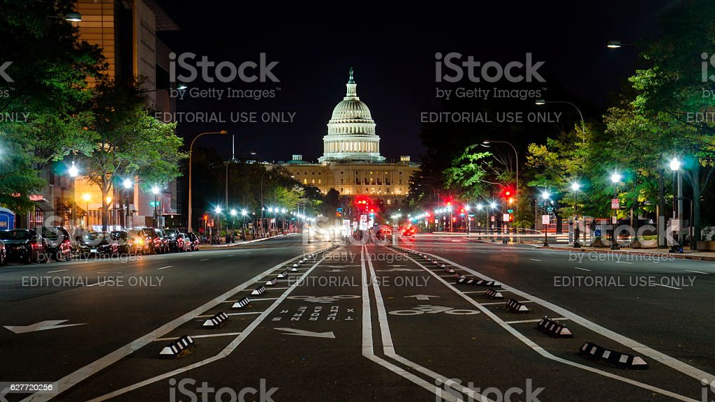 United States Capitol Washington street view at night stock photo