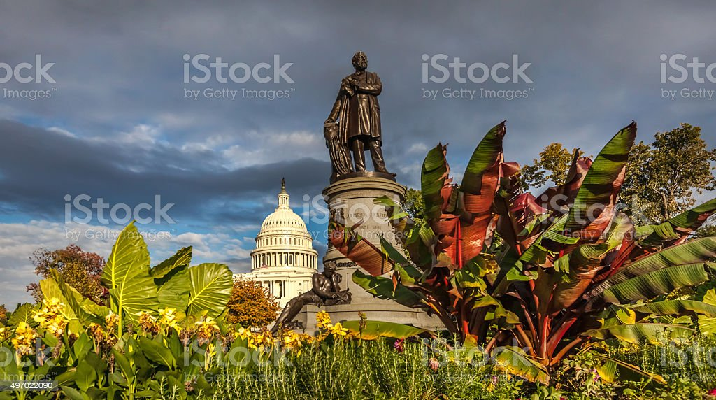 United States Capitol West and James Garfield Statue stock photo