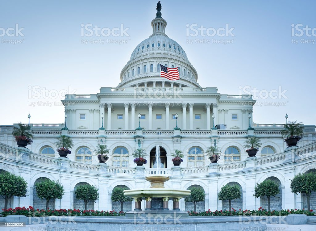 United States Capitol West Facade with Fountain and Flowers royalty-free stock photo