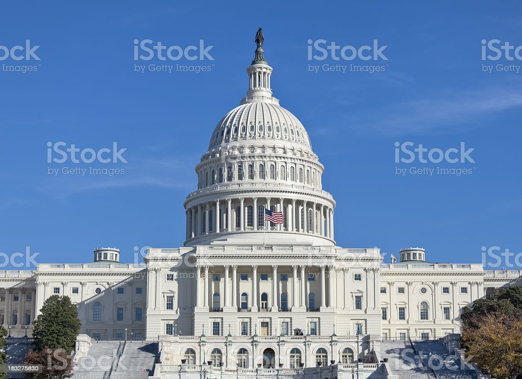 United States Capitol West Facade with Stairways and Numerous Windows royalty-free stock photo