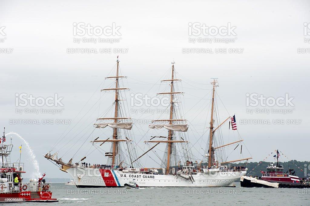 United States Coast Guard Cutter Eagle in Portland Harbor stock photo