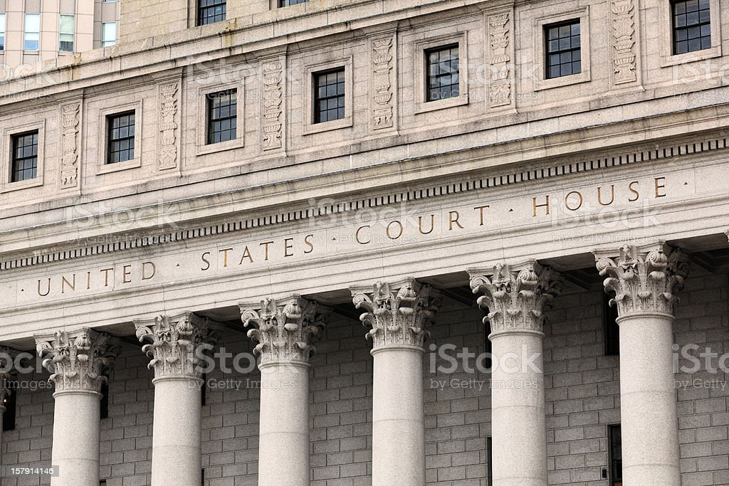 United States Court House, Carved in Granite stock photo