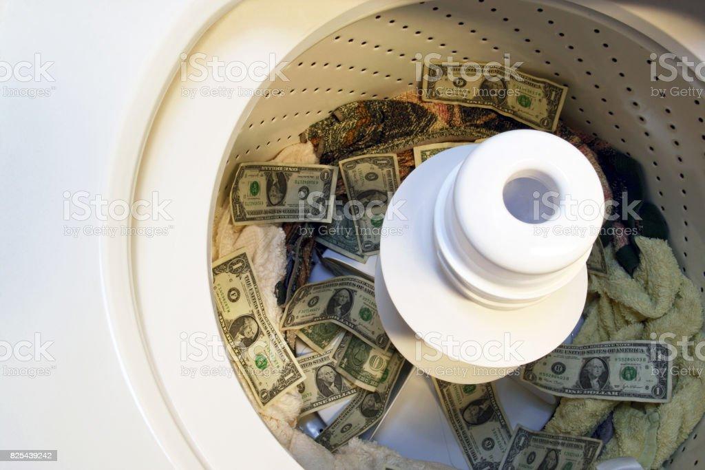 United States Currency Money Laundering In Washing Machine stock photo