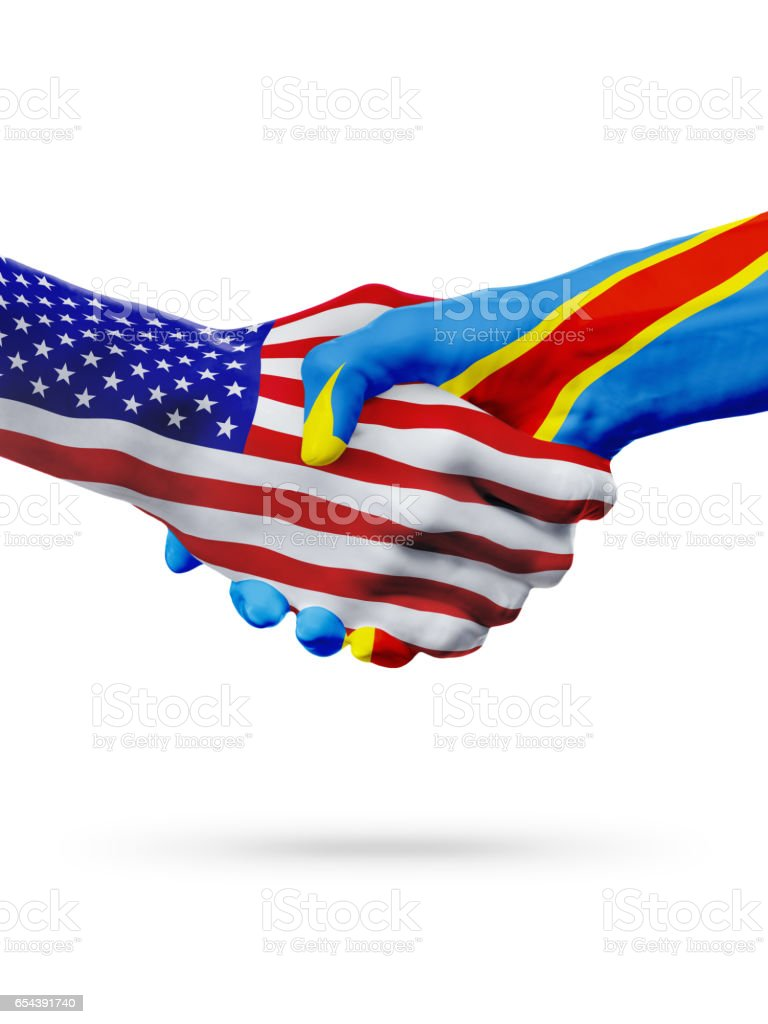 United States, Democratic Republic of the Congo flags concept cooperation stock photo