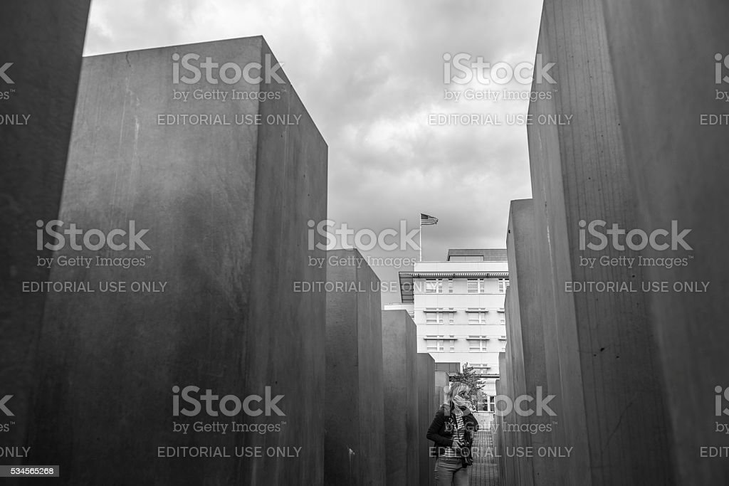 United States embassy in Berlin seen from Holocaust Memorial stock photo