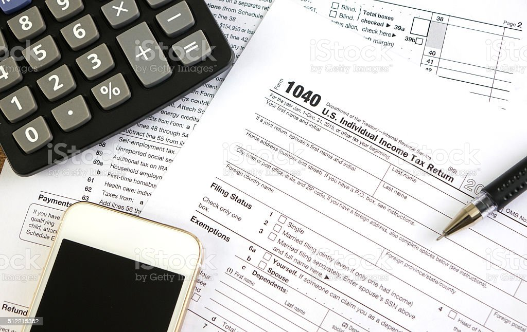 United States federal income tax return IRS 1040 documents stock photo