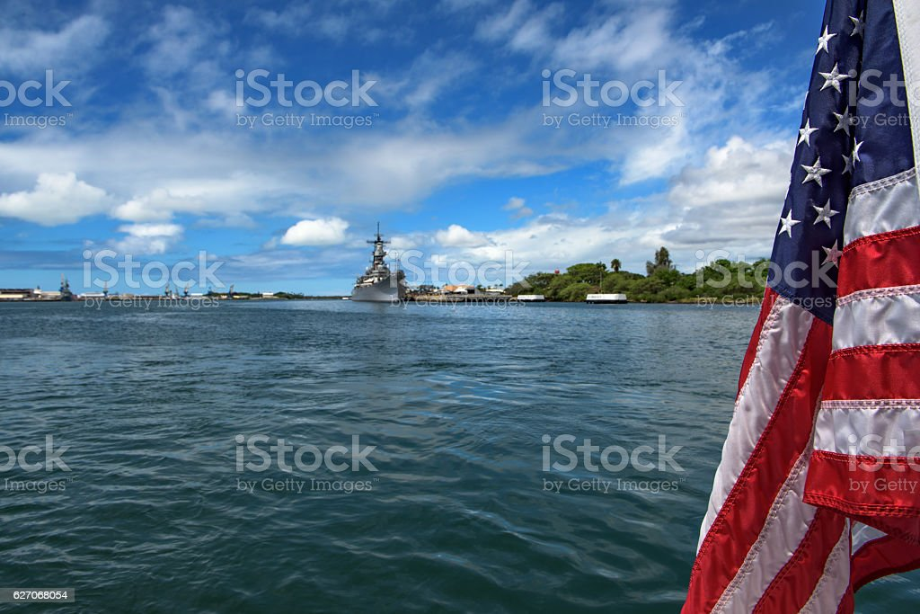 United States flag and view of Pearl Harbor stock photo