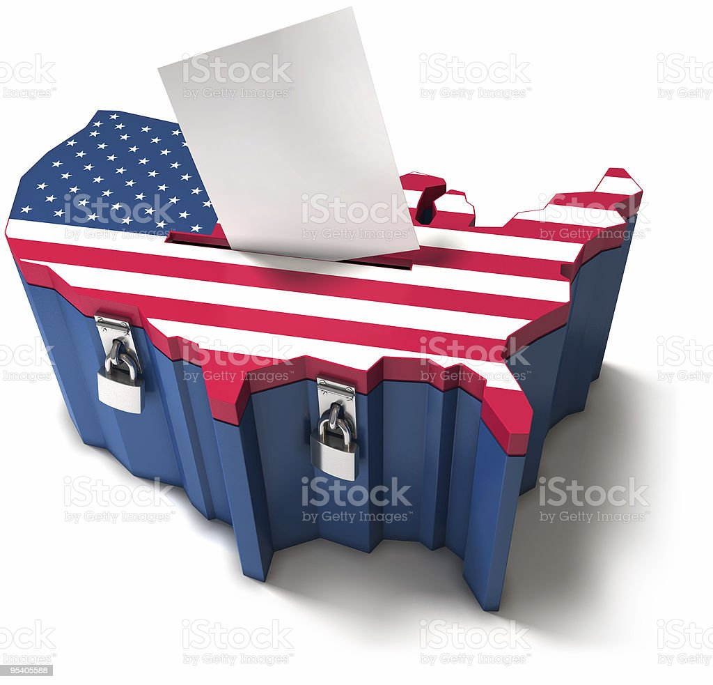 A United States flag ballot box stock photo